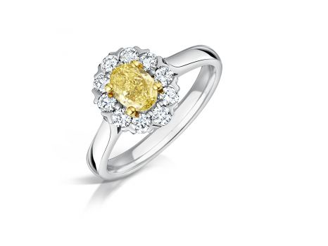 Yellow Diamond Cluster Engagement Ring