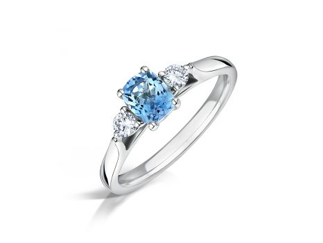 Aquamarine & Diamond Trilogy Engagement Ring