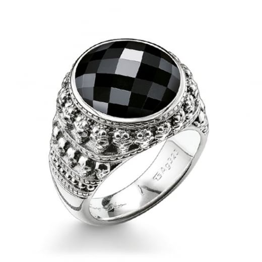 Thomas Sabo Black CZ Skull Ring - Size 62
