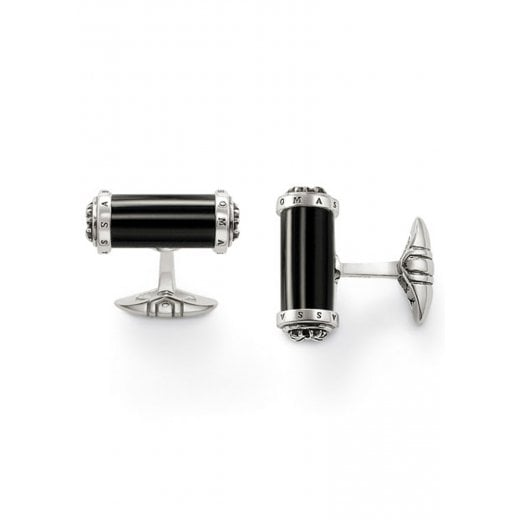 Black Onxy & Sterling Silver Barrel Cufflinks