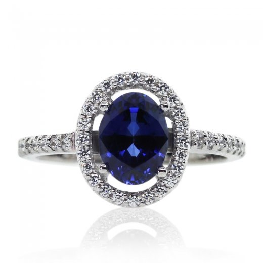 Carat* Microset Bordered Oval Ring in Sapphire