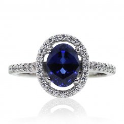 Microset Bordered Oval Ring in Sapphire