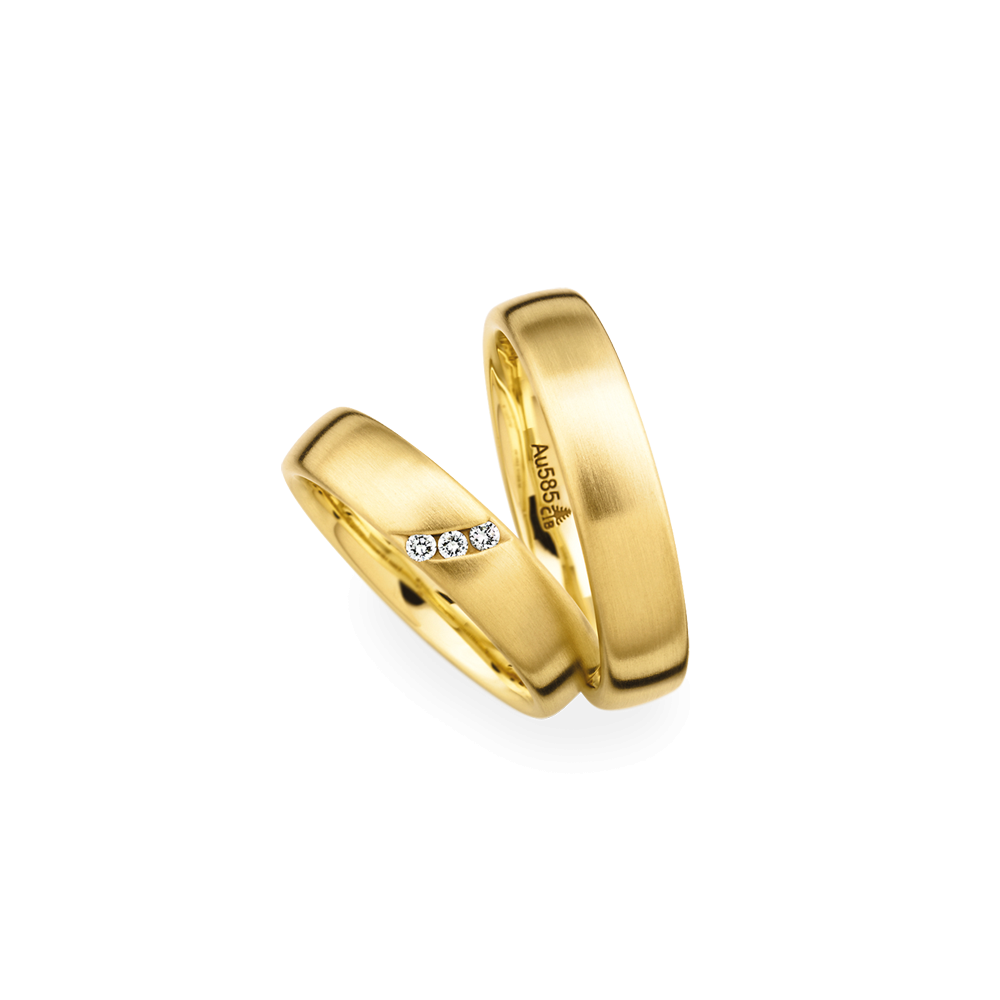 Matching pair 18ct yellow gold brushed wedding ring for Wedding ring christian
