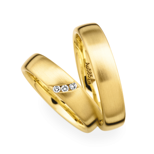 Christian Bauer Matching Pair 18ct Yellow Gold Brushed Wedding Ring
