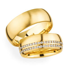 Matching Pair 18ct Yellow Gold Double Row Wedding Rings