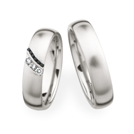 Christian Bauer Matching Pair Brushed Fancy Black Diamonds Wedding Rings