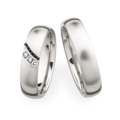 Matching Pair Brushed Fancy Black Diamonds Wedding Rings
