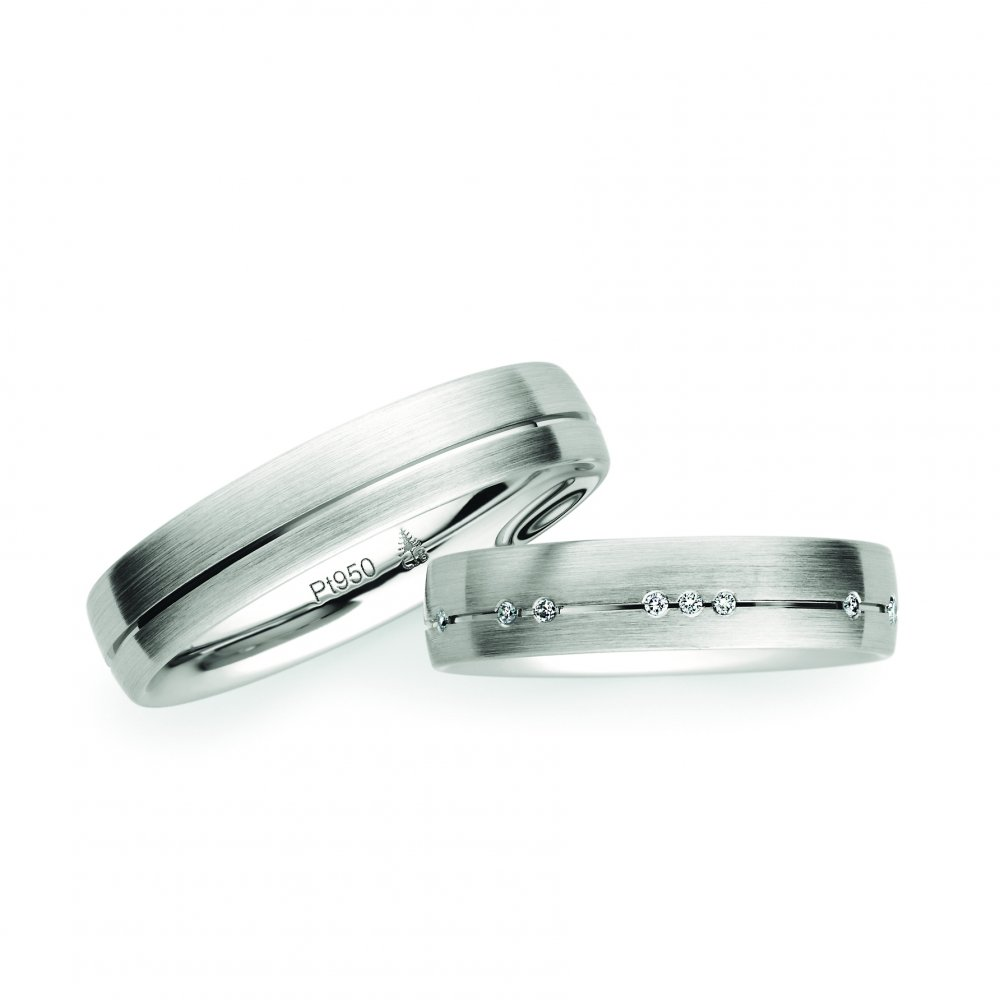 Platinum christian bauer wedding rings matching pair brushed platinum wedding rings junglespirit Gallery