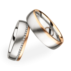 Matching Pair Brushed Two Toned Wedding Rings