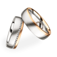 Christian Bauer Matching Pair Brushed Two Toned Wedding Rings