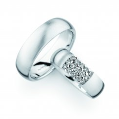 Matching Pair Diamond Set & Plain Wedding Rings