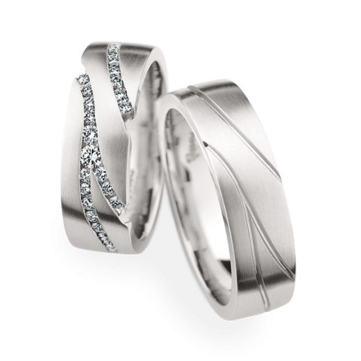 Matching Pair Line Design Wedding Rings Christian Bauer