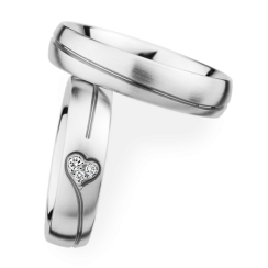 Matching Pair Love Heart Wedding Rings
