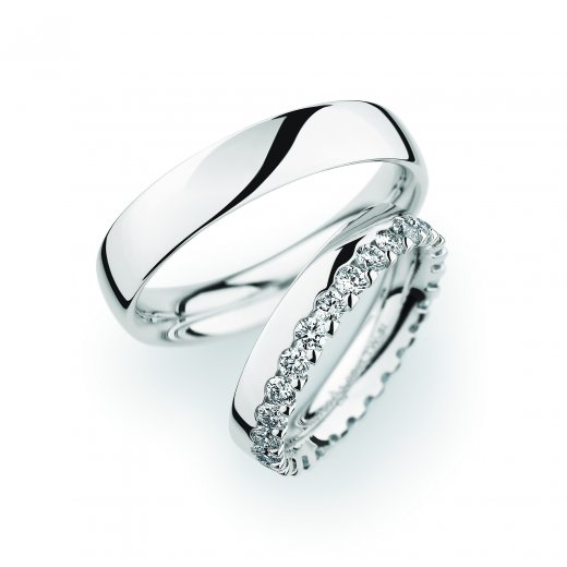 Christian Bauer Matching Pair Plain & Diamond Edge Wedding Ring
