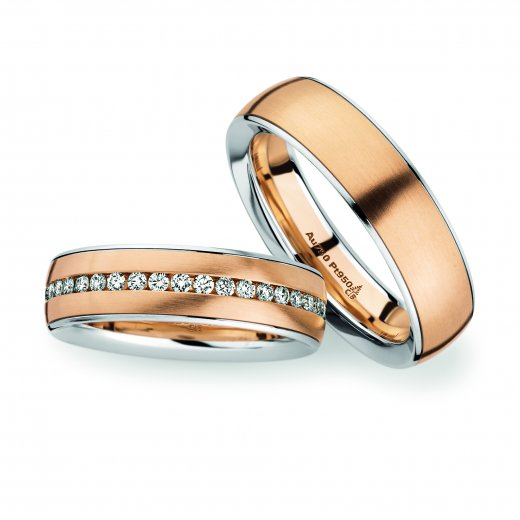 Christian Bauer Matching Pair Platinum & Rose Gold Wedding Ring