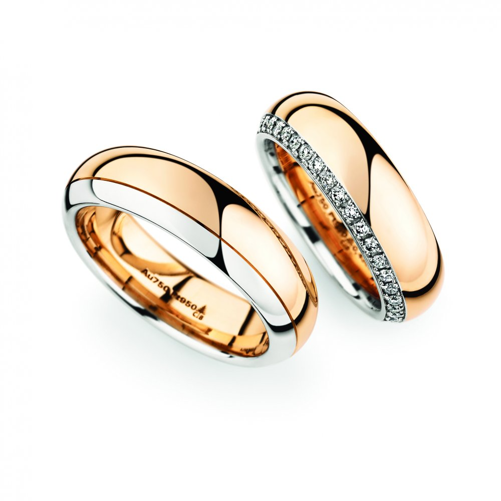 Rose Gold Platinum wedding ring pair Christian Bauer Birmingham