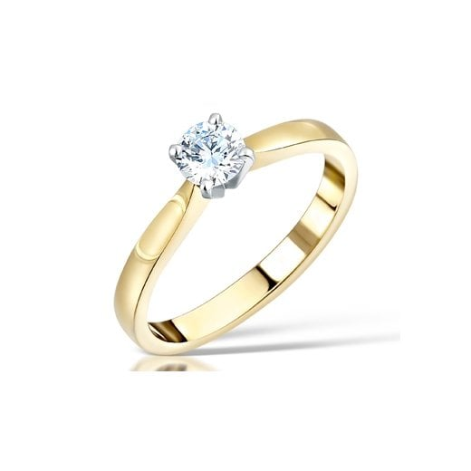Clearwater Diamonds 0.36ct Round Brilliant Cut Diamond Solitaire Engagement Ring In 18ct Yellow Gold and Platinum