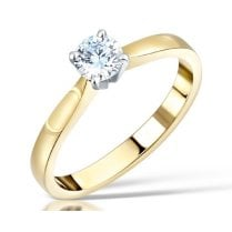 0.36ct Round Brilliant Cut Diamond Solitaire Engagement Ring In 18ct Yellow Gold and Platinum