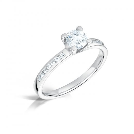 Clearwater Diamonds 0.40ct Round Brilliant Cut Diamond Solitaire Engagement Ring With Set Shoulders In Platinum