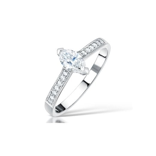 Clearwater Diamonds 0.50ct Marquise Cut Diamond Solitaire Engagement Ring In Platinum