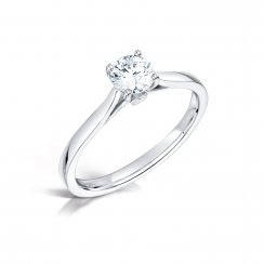 0.50ct Round Brilliant Cut Diamond Solitaire Engagement Ring In Platinum