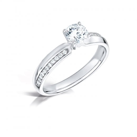 Clearwater Diamonds 0.50ct Round Brilliant Cut Diamond Solitaire Engagement Ring With Set Shoulders In Platinum