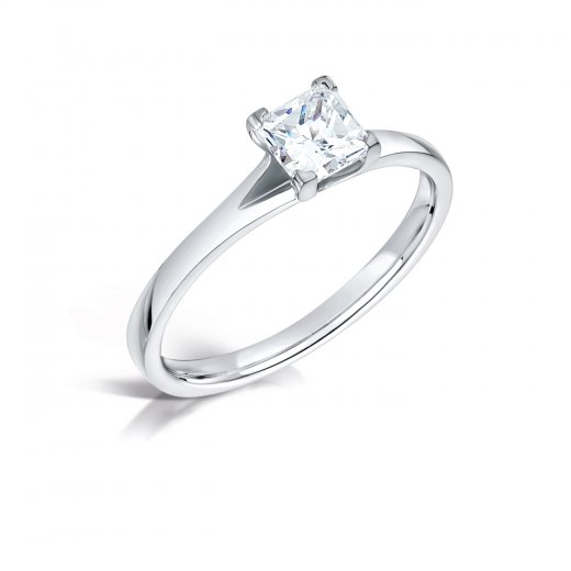Clearwater Diamonds 0.51ct Princess Cut Diamond Solitaire Engagement Ring In Platinum