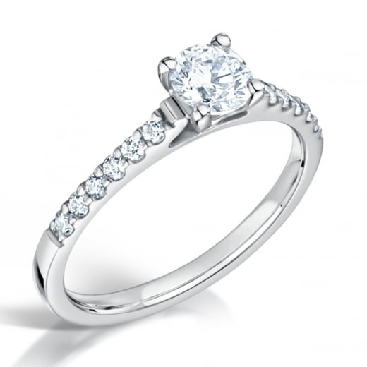Clearwater Diamonds 0.56ct Certificated Round Diamond Shoulder Set Engagement ring
