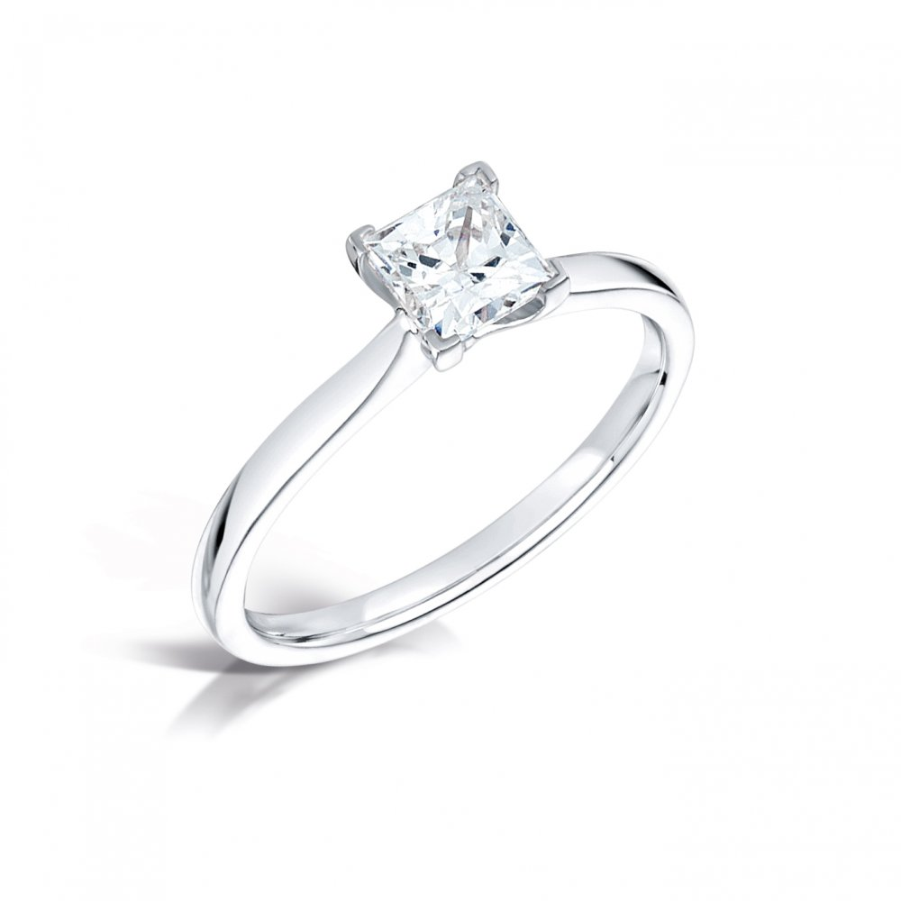 056ct princess cut diamond solitaire engagement ring in for Platinum princess cut wedding rings
