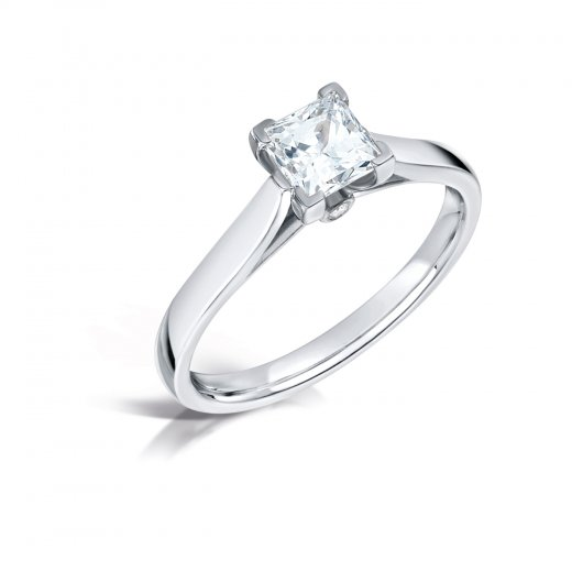 Clearwater Diamonds 0.57ct Princess Cut Diamond Solitaire Engagement Ring In Platinum