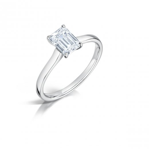 Clearwater Diamonds 0.70ct Emerald Cut Diamond Solitaire Engagement Ring In Platinum