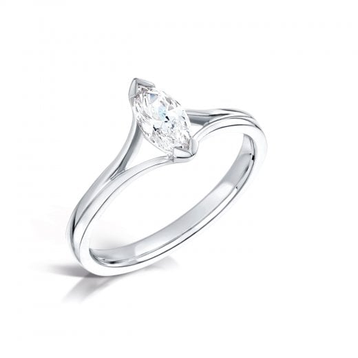 Clearwater Diamonds 0.90ct Marquise Cut Diamond Solitaire Engagement Ring In Platinum