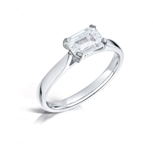 Clearwater Diamonds 0.92ct Emerald Cut Diamond Solitaire Engagement Ring In Platinum