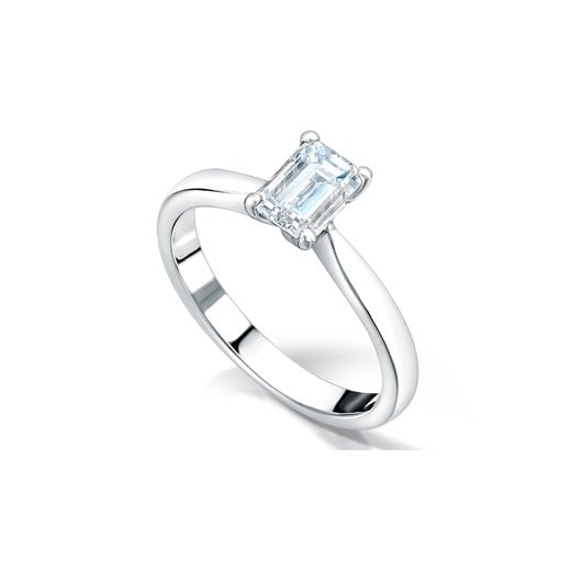 Clearwater Diamonds 1.01ct Emerald Cut Diamond Solitaire Engagement Ring In Platinum