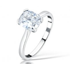 1.50ct Cushion Cut Diamond Solitaire Engagement Ring In Platinum