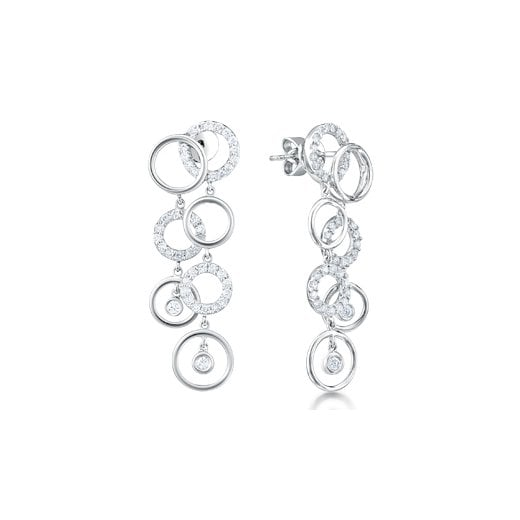 Clearwater Diamonds 18ct White Gold Diamond Drop Earrings