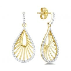 18ct Yellow Gold & Diamond Dropper Earrings