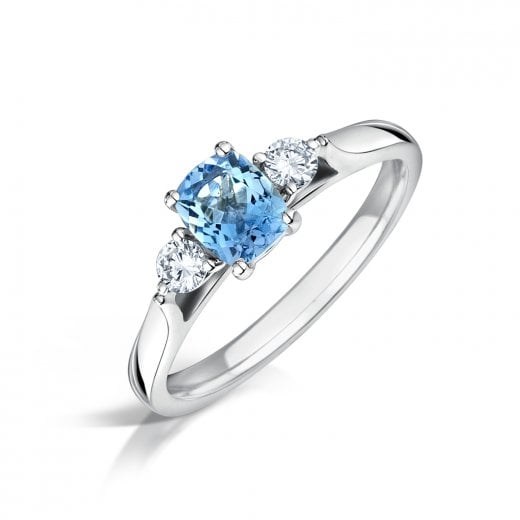 Clearwater Diamonds Aquamarine & Diamond Three Stone Ring