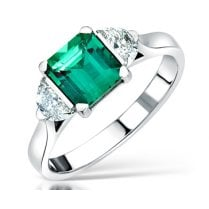 Bespoke Designed Emerald & Diamond Three Stone Ring
