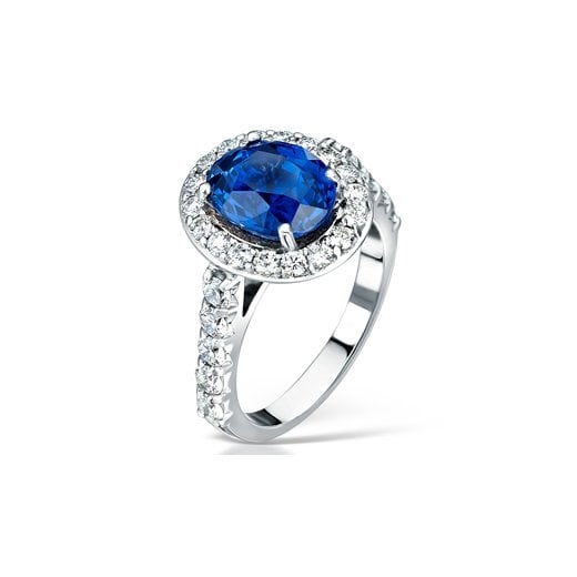 Clearwater Diamonds Blue Sapphire And Diamond Cluster Engagement Ring In Platinum