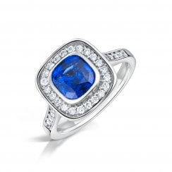 Blue Sapphire & Diamond Vintage Style Cluster Ring