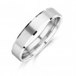 Brushed Wedding Ring With Diamond Cut Edges