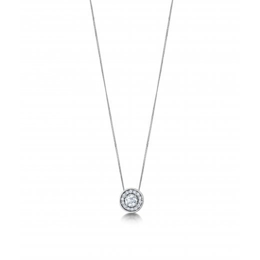 Clearwater Diamonds Certificated Round Diamond Cluster Pendant With Chain