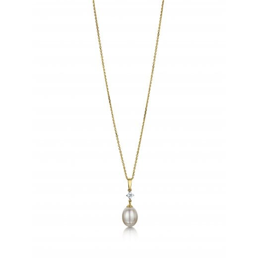Clearwater Diamonds Cultured Pearl & Diamond Drop Pendant