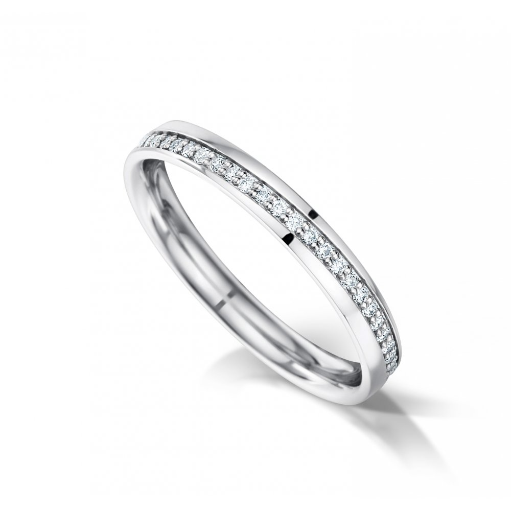 Ladies Diagonal Diamond Set Platinum Wedding Ring