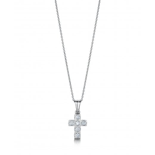 Clearwater Diamonds Diamond Set Cross Pendant With Chain