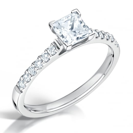 Clearwater Diamonds Diamond Shoulder Set Princess Cut Engagement Ring