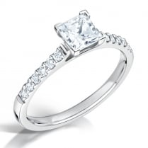 Diamond Shoulder Set Princess Cut Engagement Ring