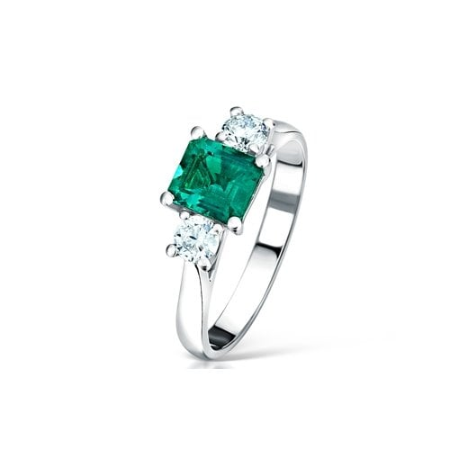 Clearwater Diamonds Emerald & Diamond Three Stone Ring
