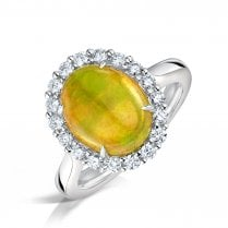 Ethiopian Opal & Diamond Cluster Ring